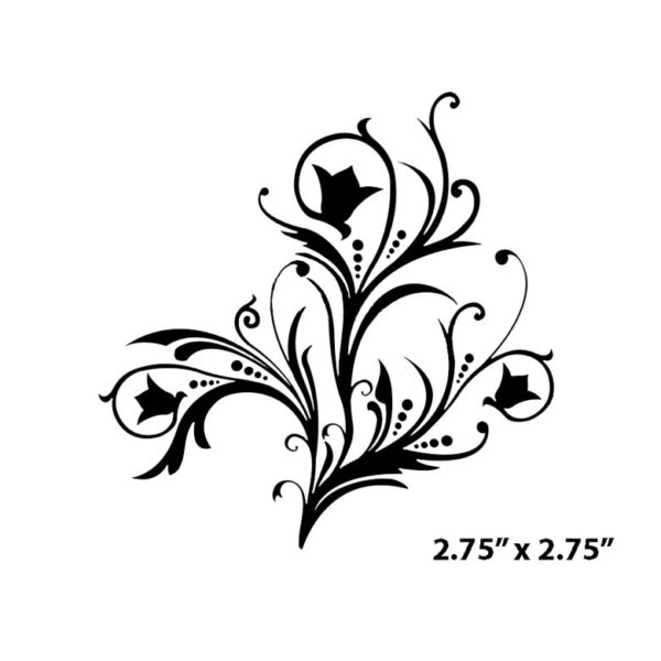 CFF618D Feather Floral Rubber Stamp