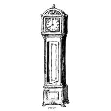 CHC218E Grandfather Clock Rubber Stamp