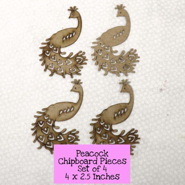 Peacock Chipboard Pieces