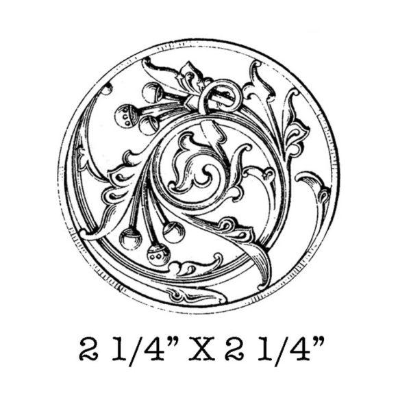 SE116D Ornate Circle Rubber Stamp