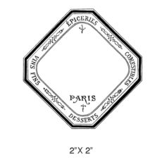 CPR120D Paris Square Label Rubber Stamp