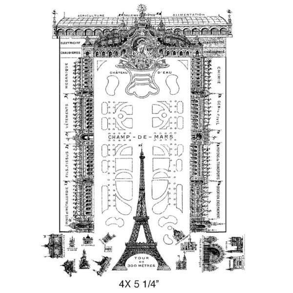 CPR306G Eiffel Gardens Rubber Stamp