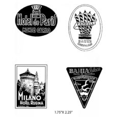 CTP438E Hotel Stickers Cube Rubber Stamps