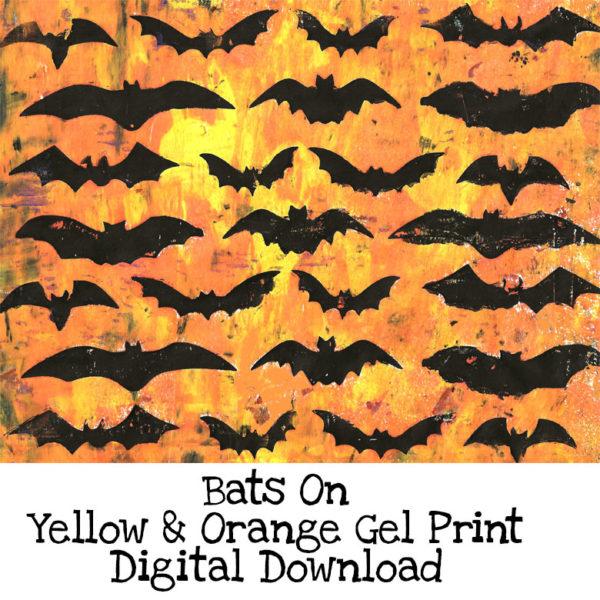Bats On Yellow & Orange Gel Print Digital Download