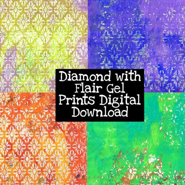 Diamond with Flair Gel Prints Digital Download
