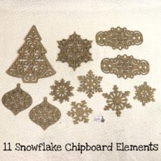 Eleven Snowflake Chipboard Elements