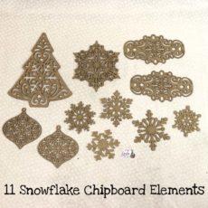 Eleven Snowflake Chipboard Elements