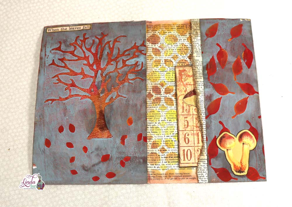 Autumn Gel Printing into Junk Journal Page Tutorial