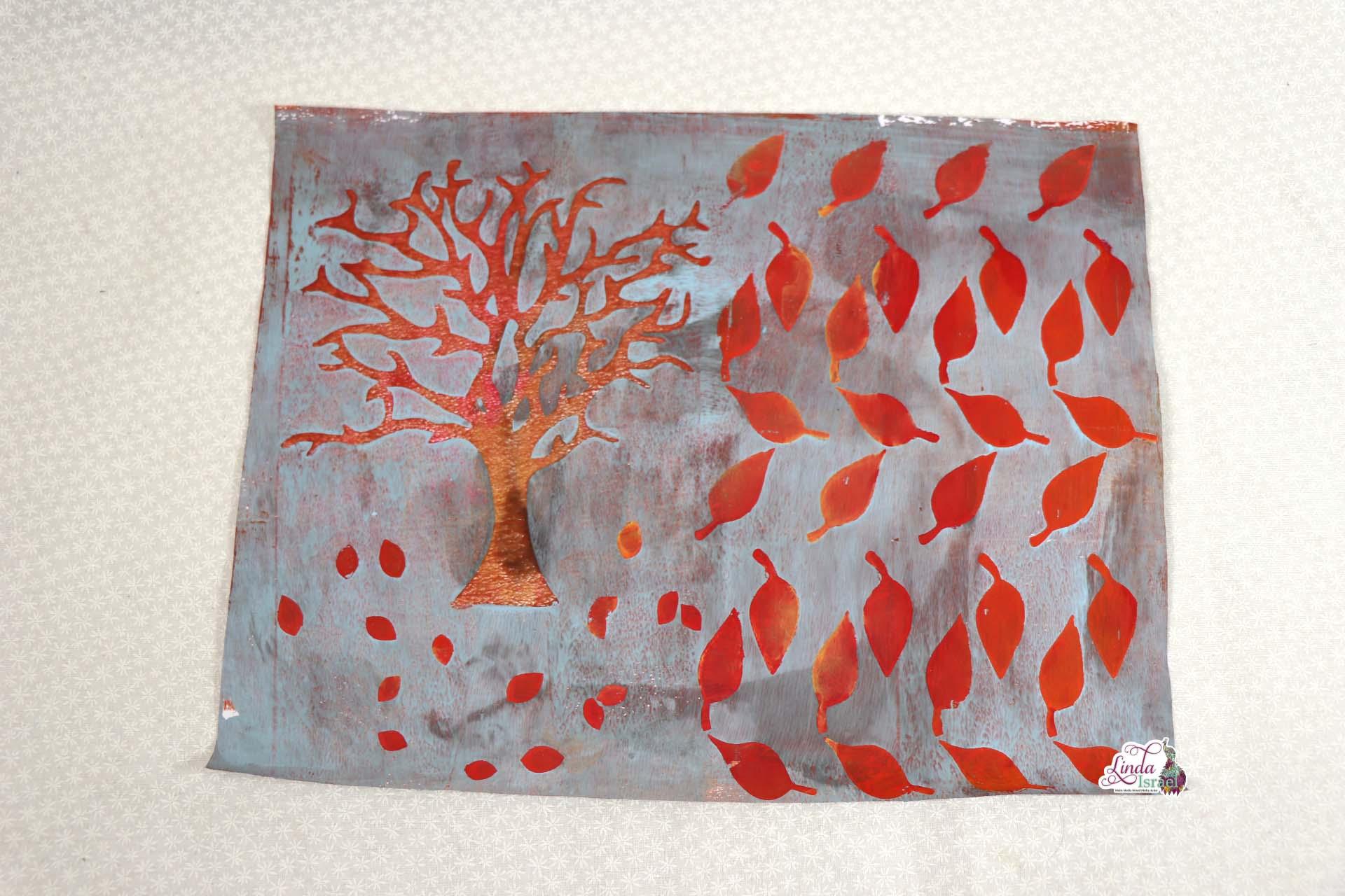 Autumn Tree and Leaves Gel Print Tutorial