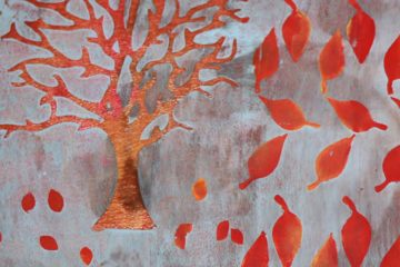 Autumn Tree and Leaves Gel Print Tutorial