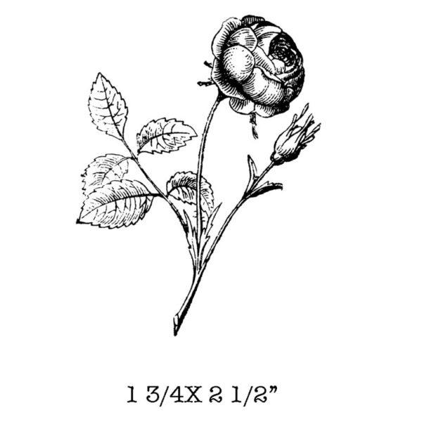 CFF620D Single Rose Rubber Stamp