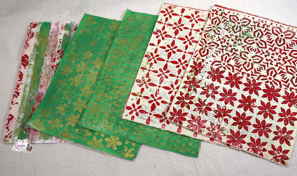 Christmas Gel Printing into Junk Journal Page Tutorial