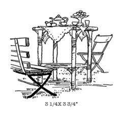 CFF522F Garden Tea Rubber Stamp