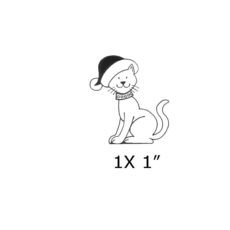CHO118B Christmas Cat Rubber Stamp
