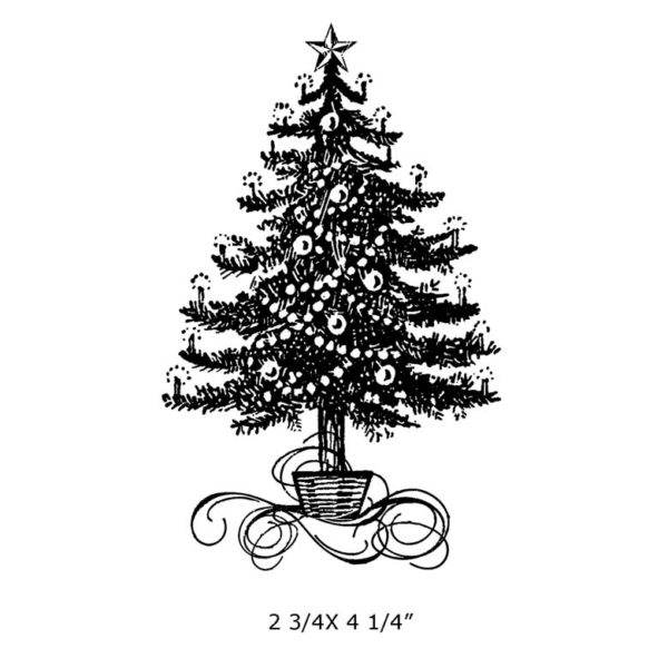 CHO132F Decorated Tree Rubber Stamp