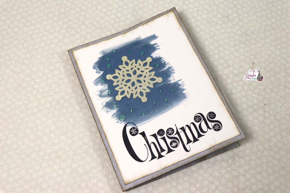 Chipboard Snowflake Watercolor Christmas Card