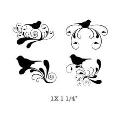FF227E Bird Swirl Rubber Stamps