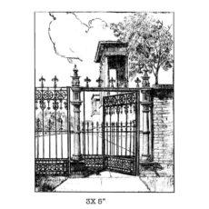 CFF237G Gate Scene Rubber Stamp