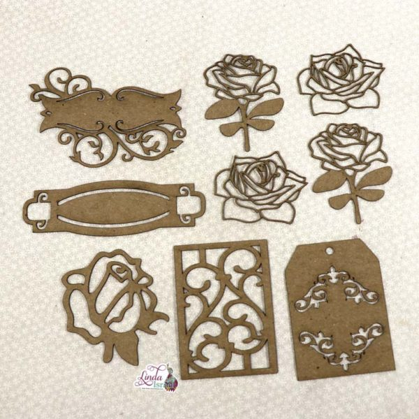 Rose and Label Chipboard Pieces