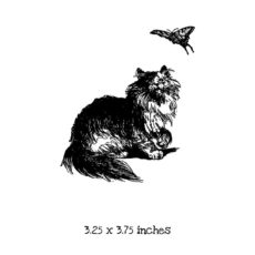 CK104E Long Hair Cat with Butterfly Rubber Stamp