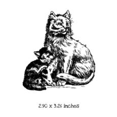 CK105E Momma and Baby Kitten Rubber Stamp