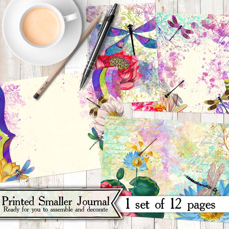 Mini Dancing Dragonflies Printed Journal Kit