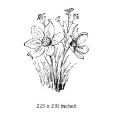 FD113D Sketched Wildflowers Rubber Stamp