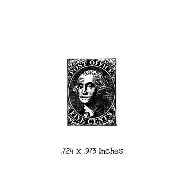 PC102B Five Cent Postage Stamp Rubber Stamp