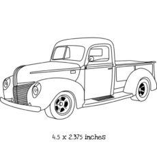 TP102E Vintage Pickup Truck Rubber Stamp