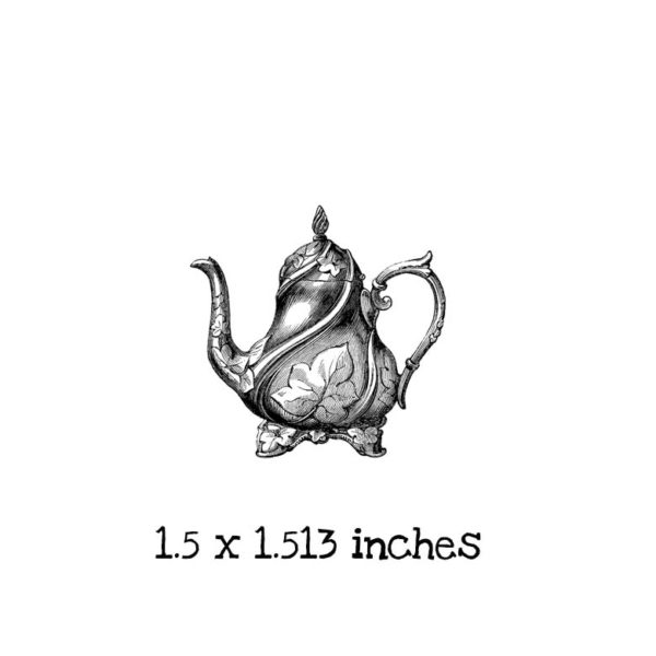 AW114B Alice in Wonderland Teapot Rubber Stamp