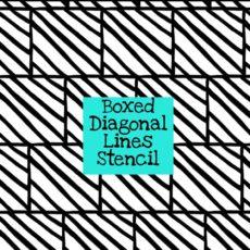 Boxed Diagonal Lines Stencil