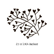 FD119D Heart Flower Branch Rubber Stamp