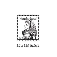 AW119B Wonderland Postage Rubber Stamp