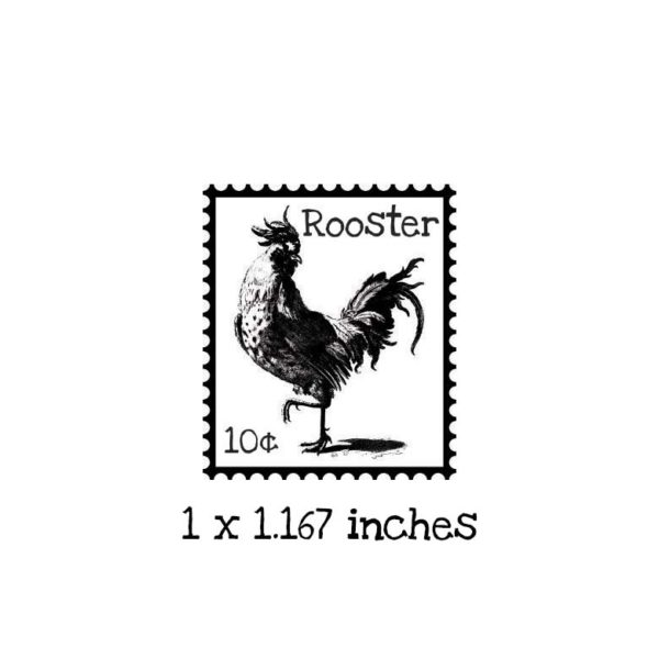 PS103B Rooster Postage Rubber Stamp
