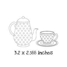 TG101D Polka Dot Tea Set Rubber Stamps