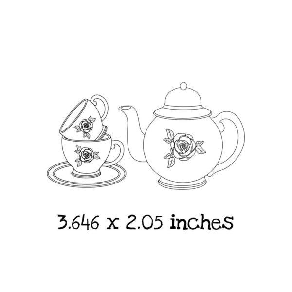 TG102D Rose Tea Set Rubber Stamps