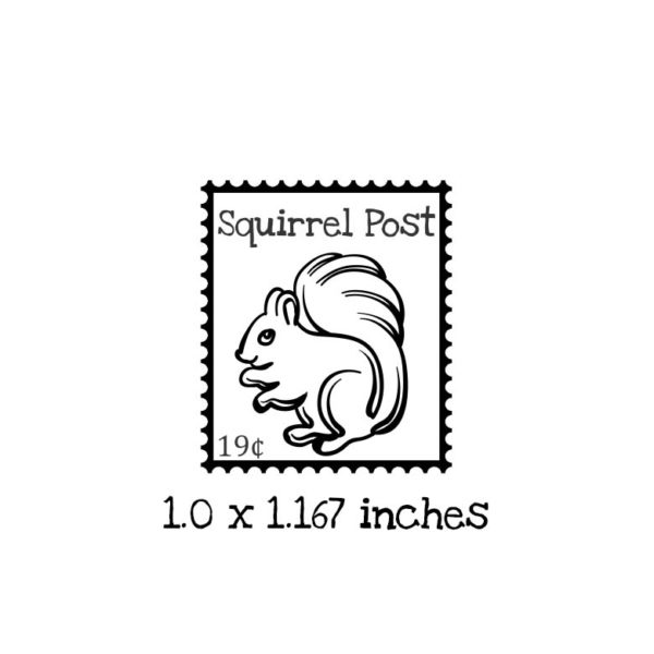 PS109B Squirrel Postage Rubber Stamp