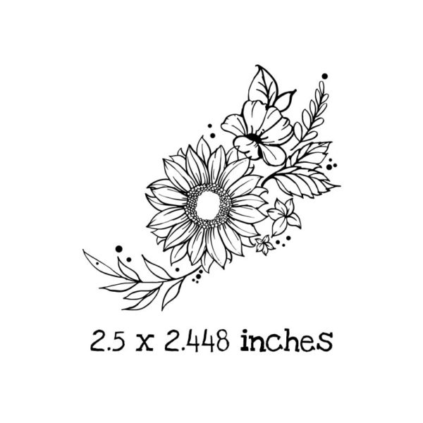 AU102D Angled Sunflower Rubber Stamp