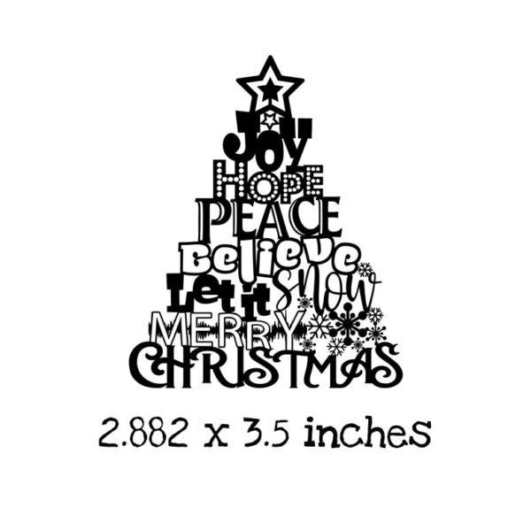 CM0103E Christmas Word Tree Rubber Stamp